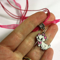 Pink and Red Marie Cat from Aristocats Charm Necklace - 16 inch necklace