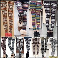 Fashion Womens Colorful Pattern Retro Knitted Leggings Tights Pants