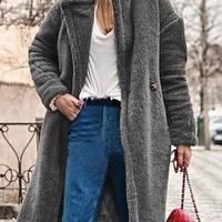 New Grey Pockets Buttons Turndown Collar Long Sleeve Teddy Coat
