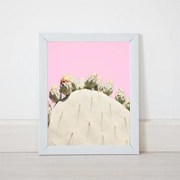 Pink Cactus DIY Print Printable Instant Download digital Prickly Pear Photography Bohemian vintage Jungalow Style Wall Art dorm apartment