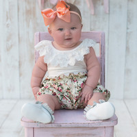 Country Girl Set Ivory Floral - Infant & Baby Sizes!