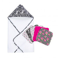 Trend Lab Black and White Zebra Hooded Towel and 5 Pack Wash Cloth Set