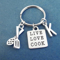 Personalized, Letter, Initial, LIVE LOVE COOK, Cooking, Utensils, Silver, Key ring, Gift, Jewelry, Accessory