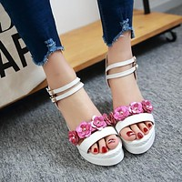 Two Ankle Straps Flower Platform Wedge Sandals 5993