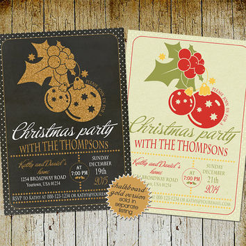 Printable christmas invitation, kraft christmas party invitation, Traditional christmas dinner invite, Red green christmas invitation card