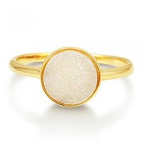 Round Shaped White Natural Druzy Quartz Goldtone Brass Fashion Ring #r701-W