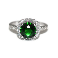 Halo Green Sterling Silver CZ Ring Size 6 Rhodium Plated - Sterling Silver Emerald Green Halo Cubic Zirconia Ring Rhodium Plated