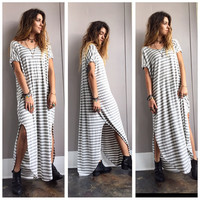 A Breezy Striped Maxi in Heather Grey