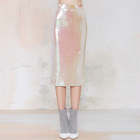 Iridescent Sequined Pencil Skirt