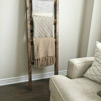 Rustic wood blanket ladder || rustic ladder decor || industrial chic decor