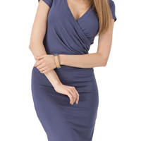 Dark Blue Short Sleeve Ruched Mini Dress