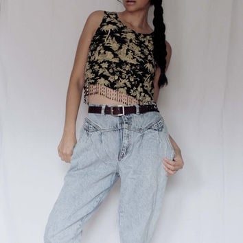 Womens Vintage 80's Acid wash New Wave high waist Gitano jeans/ BOYFRIEND ACIDWASH JEANS/ Gitano Jeans