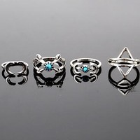 6PCS/set Vintage Turkish Beach Punk Moon Arrow Ring Set Ethnic Carved Antique ring set