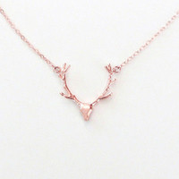 Newly Tiny Cute Deer Horn Necklace Simple Elegant Horn Statement Necklace