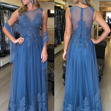 Sleeeveless Blue A-Line Lace Prom Dresses