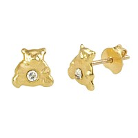 Tiny Bear with CZ Stud Earrings 6mm 10k Yellow Gold with Pushbacks