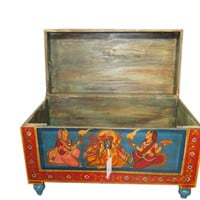 Indian Hand Painted Storage Trunk Coffee Table Indian Furniture ~ Ganesha