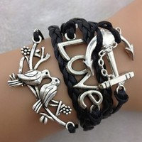 MOKOLO Braided Bronze Infinity Lady Retro Knit Cross Love/Rudder Anchor/Love Charms Suede Wrap Bracelet