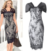 Sexy Women Lace Floral Cap Sleeve V-Neck Sexy Cocktail Bodycon Party Short Dress D_L = 1713187204