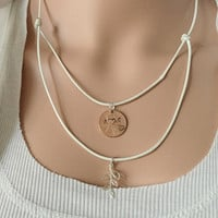 Copper penny necklace, Layered necklace, layered necklace kids, layering necklace, flower girls gift, penny leaf, women Personalized jewelry