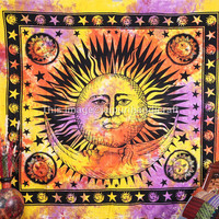 Psychedelic Celestial Sun Moon Tapestry,  Tie Dye Tapestry, Indian Tapestry, Teen Age Dorm Bedding, Sun Moon & Stars Tie Dye Tapestry, Decor