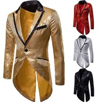 Mens Slim Fit Sequin Tailcoat | 2018 Autumn Brand New Male Long Sleeve Frock Coat Man Party/Club/Wedding Suit Blazer Jacket