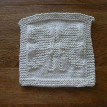 Hand Knit White All Cotton Butterfly Baby Picture Wash Cloth