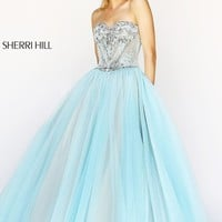 Long Strapless Ball Gown by Sherri Hill