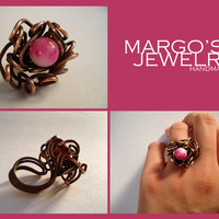 handmade ring of copper wire and natural stone jade