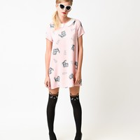 1960s Style Pink Kitty Print Collared Shift Dress