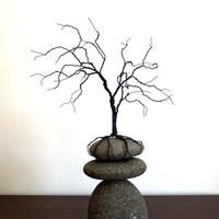 Wire Tree and River Rock Sculpture Tree and Stones Sculpture