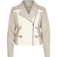 River Island Womens Cream leather-look and canvas biker jacket