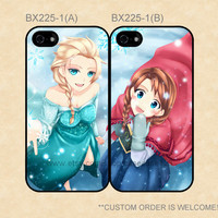 BX225-1 Disney Frozen Sisters Anna and Elsa Best Friends Cases,iPhone 4/4s/5/5s/5C,Galaxy S2/S3/S4/S5/Note 2/3,One S/X/M7/M8,Moto G