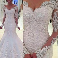 [218.99] Charming Tulle & Satin V-Neck Mermaid Wedding Dresses With Beaded Lace Appliques - dressilyme.com