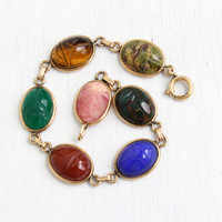 Vintage 12k Yellow Gold Filled Scarab Bracelet - Retro 1960s Carved Colorful Bloodstone, Lapis, Chrysoprase, Egyptian Revival Jewelry