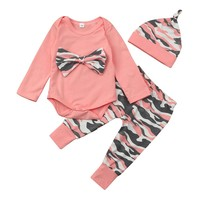 3PC Little Girl's Camouflage Outfit With Matching Headband and Cap