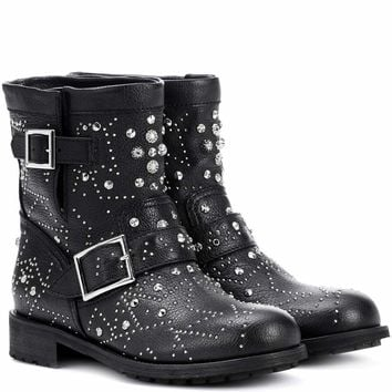 Youth embellished leather ankle boots