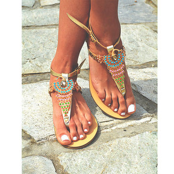 Leather women Gold Sandal shoes Crystal Peacock