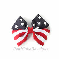 Stars and Stripes 4th of July Hair Bow, Patroitic Pigtail Hair Bows, Toddler Pigtail Hair Clips, Baby Hair Bows, Girls Hair Bow