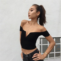 Fashion Solid Color Small V-Neck Stretch Short Sleeve T-shirt Crop Top