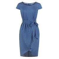 Sexy o-neck polka dot women dress Elegant short sleeve ruffled summer dress Bow tie high waist blue dress vestidos
