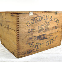 Vintage Wood Crate, Storage Box, Gordon & Co Dry Gin Crate, Industrial Decor, Industrial Storage