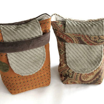 Party Favors Small Reusable Gift Bags Orange Gold Green Brown Upholstery Fabric Island Floral Retro Dot (set of 2) --US Shipping Included