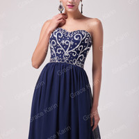 Formal Long Chiffon Beaded Bridesmaid Evening Dresses Masquerade Party Prom Gown