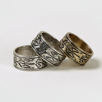 Engraved Band 3 Ring Pack - Topman