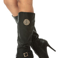 Black Faux Leather Knee High Pointed Toe Boots