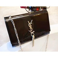 YSL Saint Laurent Women's Casual Simple Chain Fringe Clutch Shoulder Bag Messenger Bag