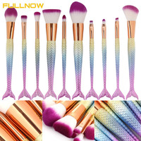 Luxury-Mermaid 10pcs Pro Makeup Brushes Set Foundation Blending Powder Contouring Concealer Blush Comestic Beauty Make Up Kit