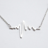Big Sale-30%--925 Sterling Silver heart rate necklace,silver heart beat necklace