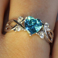 Aquamarine Heart Shaped Ring – Aqua Cubic Zirconia